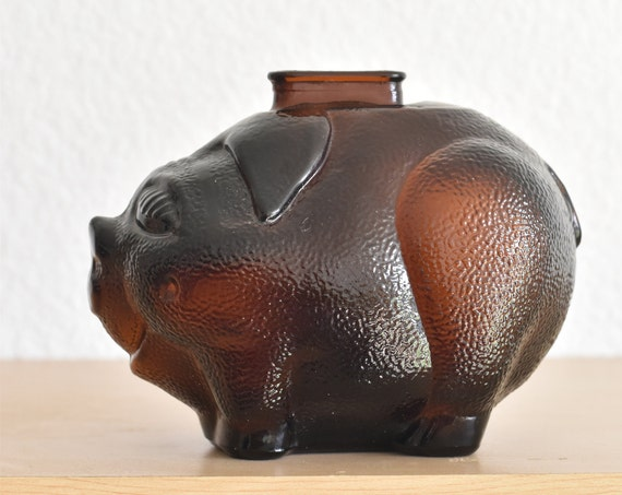 vintage retro glass pig coin bank / piggy savings / little pig figurine