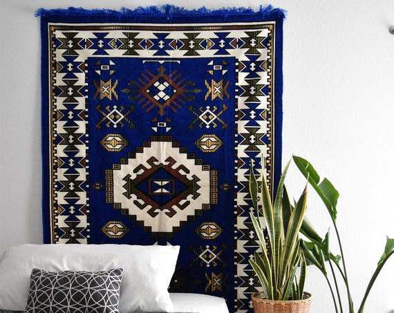 vintage large navy blue afghan fringe rug wall tapestry / geometric patterned wall hanging