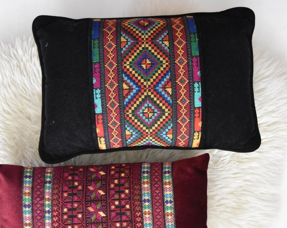 vintage black embroidered hmong asian decorative velvet throw pillow / removable pillowcase