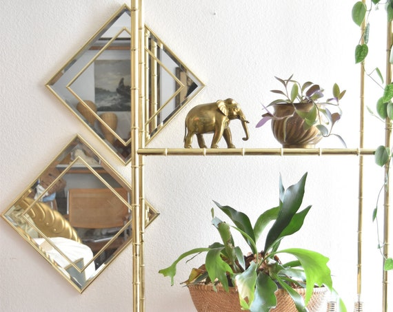 pair of wall hanging mid century modern gold framed diamond shaped glass mirror | set of 2 geometric art