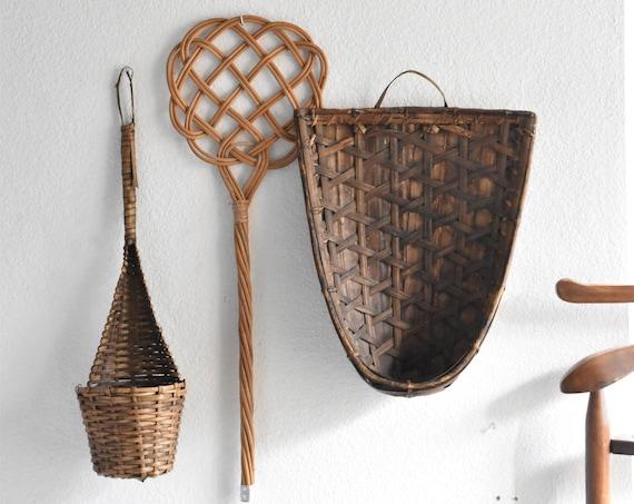 "24"" long woven rattan bamboo spoons / ladle / planter basket"