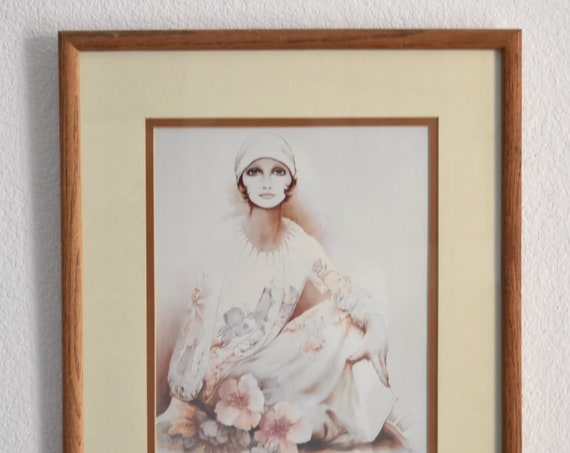large sara moon wall hanging framed litho print of a lady