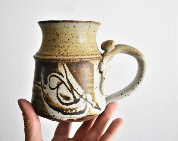 speckled brown hand painted stoneware coffee mug / artisan pottery / drinking cup