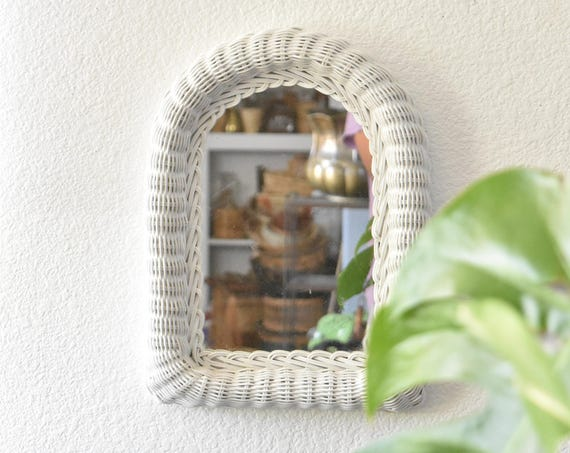 vintage white wicker wall hanging mirror / oval arch / small