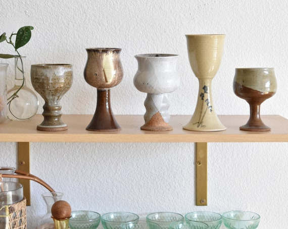 set of brown earth tone stoneware ceramic pottery goblets / collection