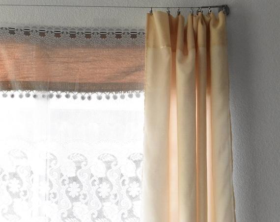 short white lace scallop window curtain / window valance