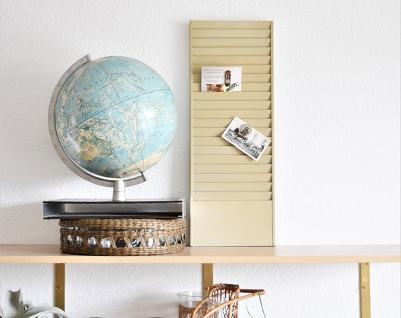 wall hanging mid century beige industrial metal office paper file / mail sorter organizer