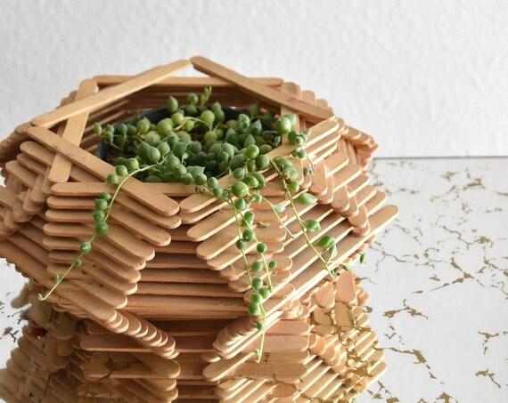 handmade geometric wood planter flower pot