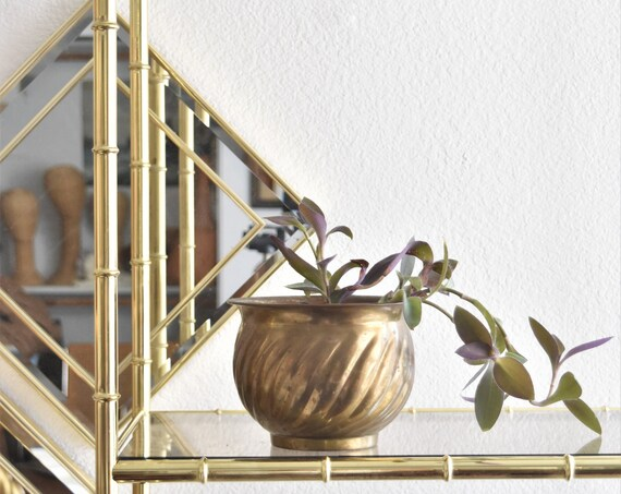rustic mid century modern brass planter / flower pot with aged patina