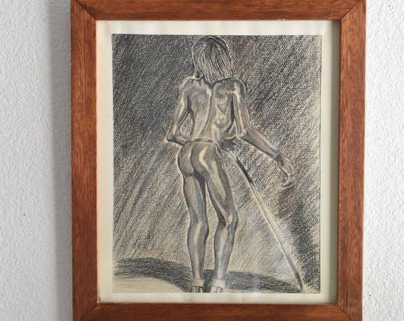 vintage original art / charcoal pencil drawing black white nude african australian aboriginal man