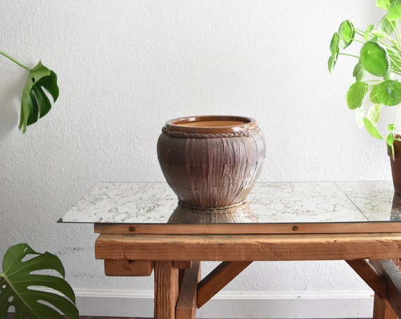 woven earth tone brown stoneware flower pot planter / vessel / pottery