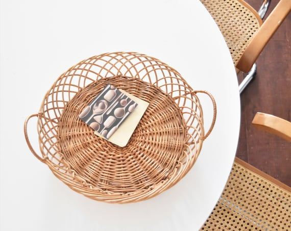 rustic woven wicker french country farmhouse basket serving tray with handles