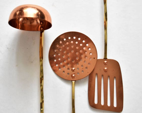 "17"" set of 3 long solid brass copper french style hanging kitchen utensils / ladle / spoon"