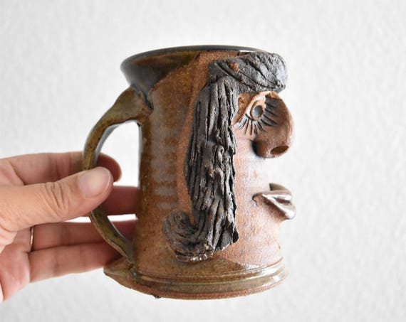 funny face hand thrown lady stoneware coffee mug / pottery sculpture