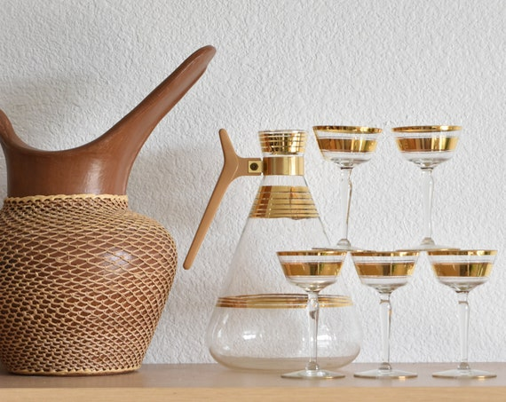 mid century modern mad men gold rim decanter cocktail glass set / set of 6