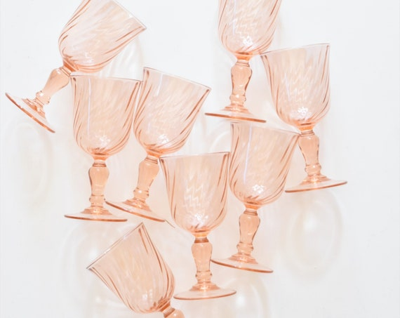 set of 8 vintage french pink swirl champagne drinking glasses / depression glass goblets / france