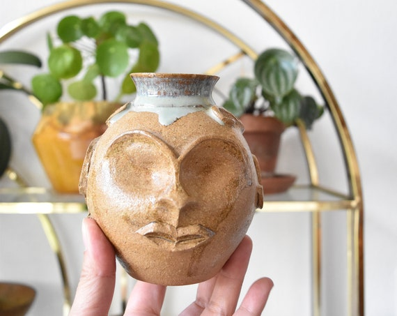 stoneware head sculpture vase / studio pottery