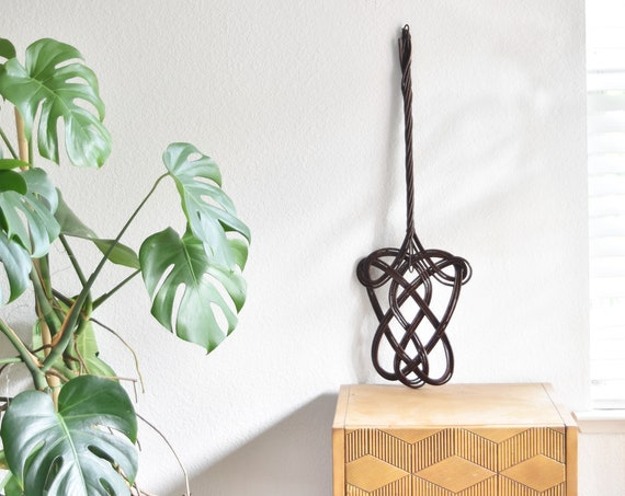 large mid century french woven bamboo rattan carpet beater / wood duster