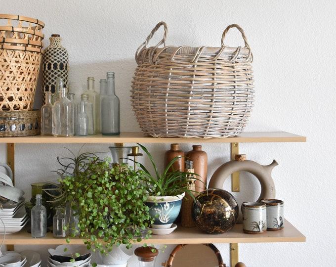 large vintage woven white basket planter with handles / flower pot