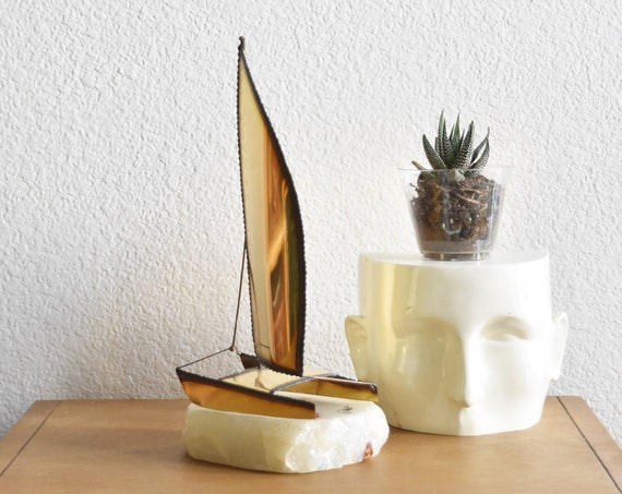 mid century modern demott tall copper brass sail boat sculpture with marble base / ship figurine / jere style