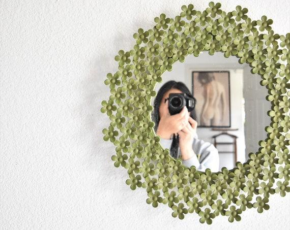 green metal flower circle wall hanging mirror | little girl baby nursery bedroom boho decor