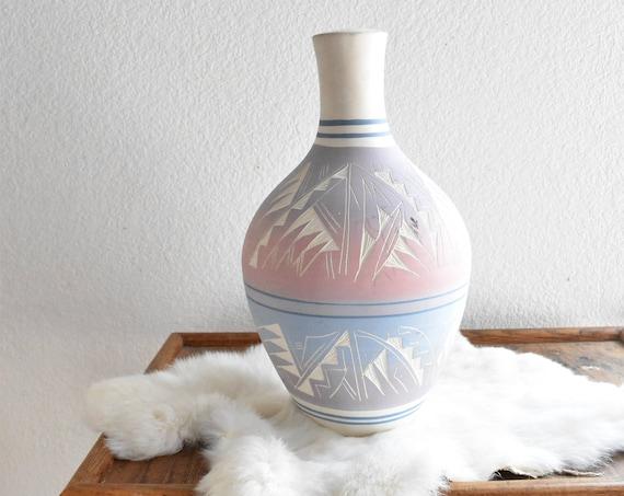 "13"" large navajo etched hand painted ceramic wedding vase / flower pot / pink blue purple"