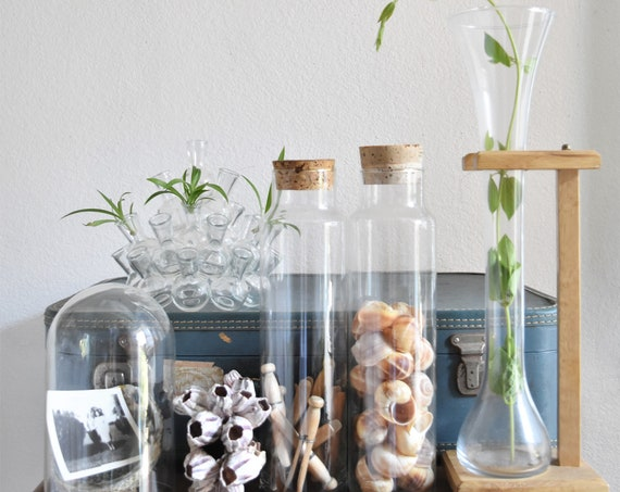 large glass chemistry lab set with wood stand / lab glass / flask / tube