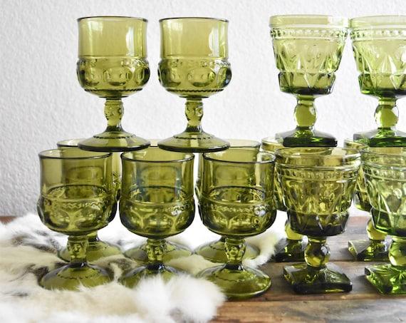 mid century green glass champagne wine glass goblets / depression glass set 8