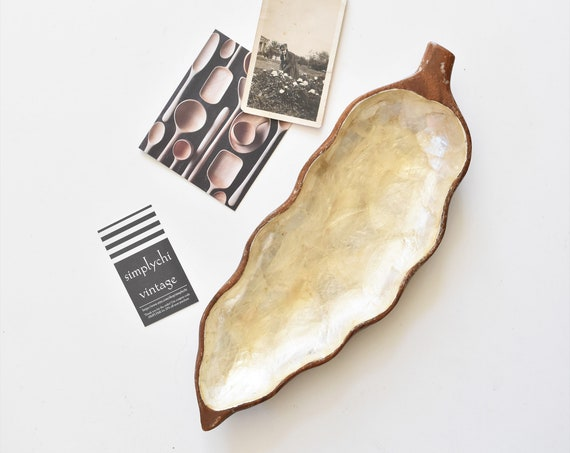 capiz sea shell inlay wood leaf tray | business card holder | catch all bowl | beach house home