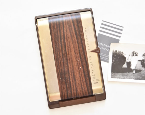 mid century modern office brown metal bates list finder address book / phone book