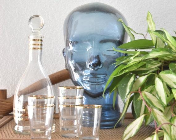 hollywood regency mid century modern mad men striped gold rim decanter cocktail glass set / set of 7