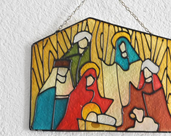 vintage religious christmas baby jesus hand painted glass wall art