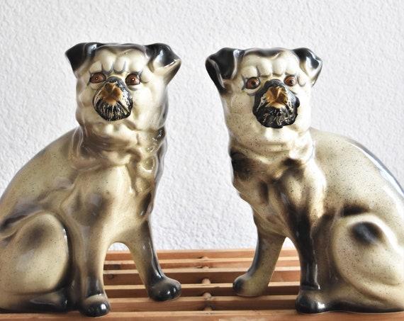 large vintage ceramic set of pug figurines | pair of staffordshire porcelain dog pug statue sculptures