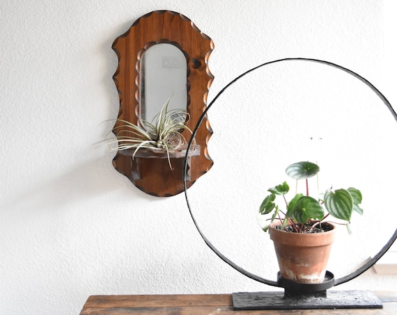 vintage ornate wooden bohemian wall hanging mirror planter / wall shelf