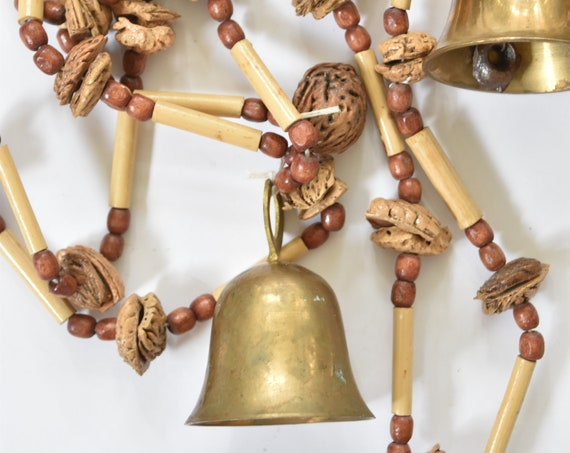 handmade beaded string with solid brass bell / rustic primitive decor / string of bells