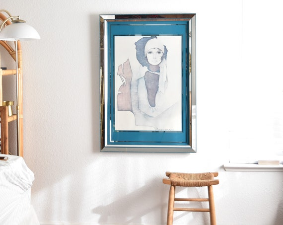 large Christine Rosamond wall hanging framed litho print of a lady simone | turquoise glass wood frame
