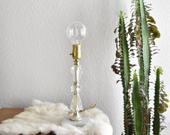 ornate clear glass table dresser lamp / pretty shabby chic french cottage decor