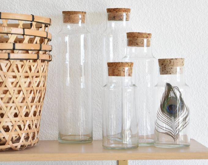 tall cork lid glass apothecary jar / kitchen storage terrarium / 1 jar
