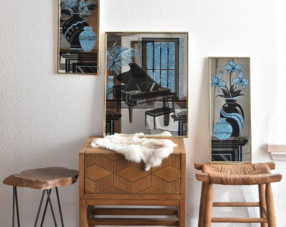 blue hollywood regency wall hanging gold mirror with flower vase piano print | art deco wall art