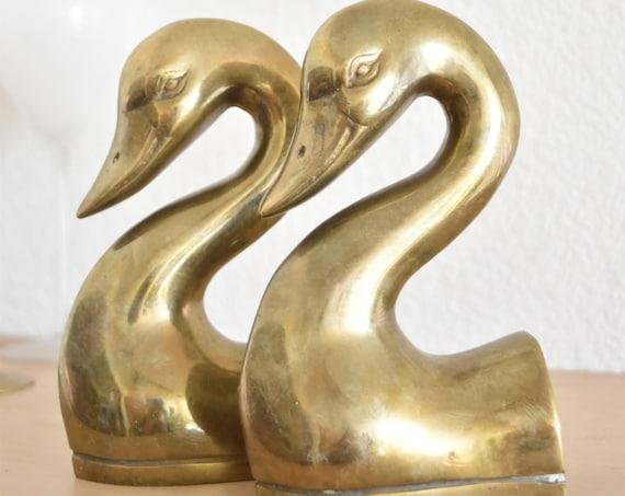 mid century modern brass bird head office bookends set of 2 | regal duck statues