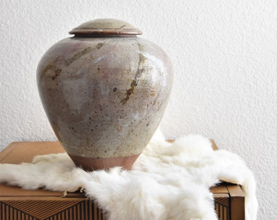 large speckled hand thrown flower stoneware pottery vase with lid | urn container