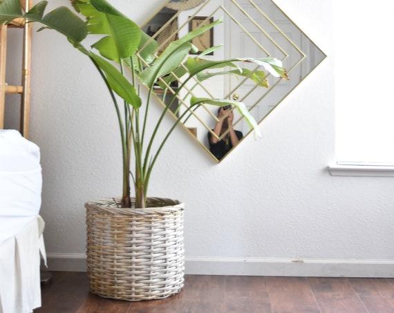 large vintage woven wicker rattan white basket planter / flower pot