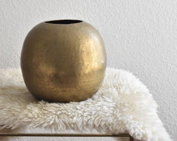 vintage hollywood regency hammered brass orb planter / flower vase