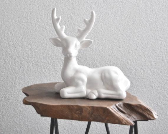 vintage white ceramic christmas deer fawn figurine / buck woodland figure