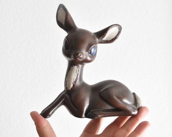 large brown vintage ceramic deer fawn figurine / christmas reindeer woodland figure