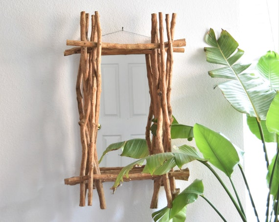 organic natural handmade wood stick wall hanging mirror curio box