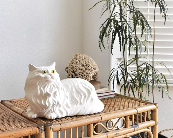life size large mid century white ceramic persian cat figurine sculptures | yellow eyes kitty
