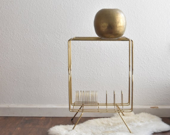 mid century modern gold tone telephone magazine file stand | hollywood regency record holder side table