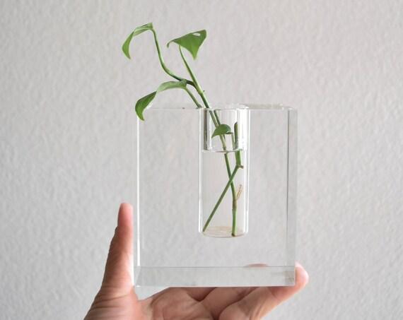 heavy modern glass propagation vase   bud starter flower vase   gift for gardener