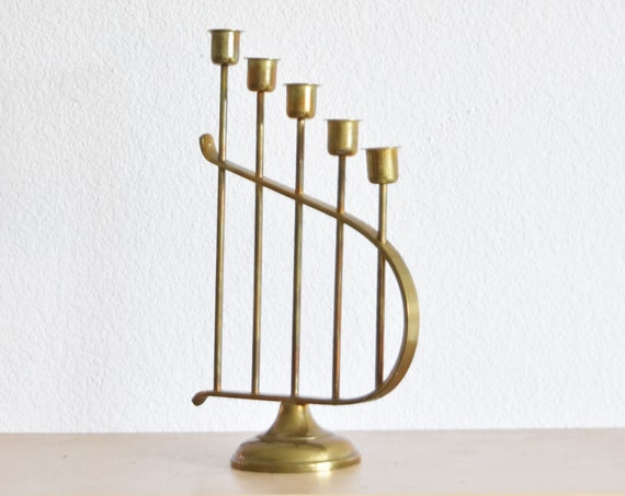 ornate brass candelabra / statement candlestick candleholders / 1 candleholder